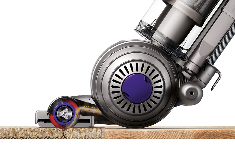 The Dyson upright vacuum effectively cleans carpets and hard wood floors