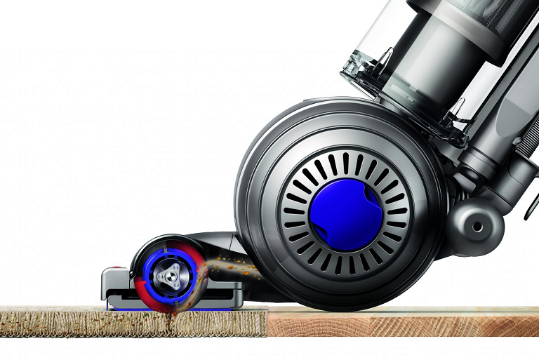 The Dyson vacuum effectively cleans hard floors and carpets