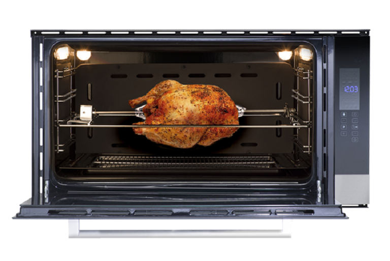 A chicken roastiong on the rotiserie of the 90cm built-in oven
