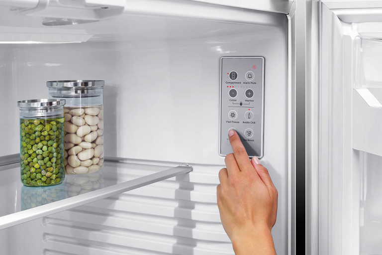 The Fisher & Paykel fridge's internal control panel