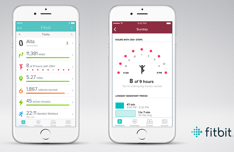 Two Fitbit app screens shown on separate 