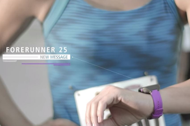 The Garmin Forerunner tracks your route and running stats