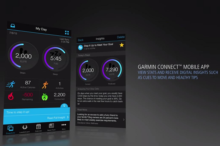 View your stats and track your progress through the Garmin Connect mobile app