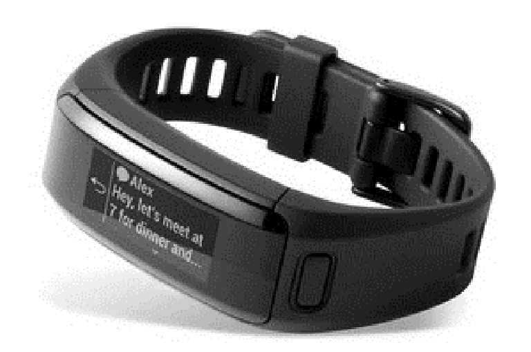 The Vivosmart activity tracker displays messages and notifications