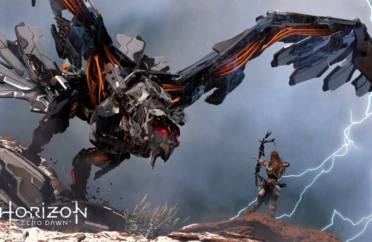 Horizon Zero Dawn's Aloy fighting a mechnical dragon.
