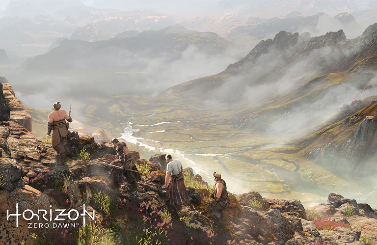 Artwork from Horizon Zero Dawn looking from the top of a mountain into a grassy valley.