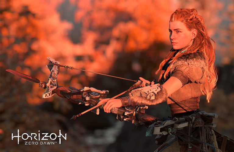 Aloy from Horizon Zero Dawn notching an arrow to her bow.