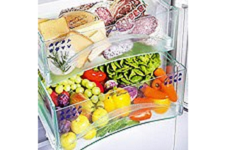 The internal drawers of the Liebherr 585L fridge