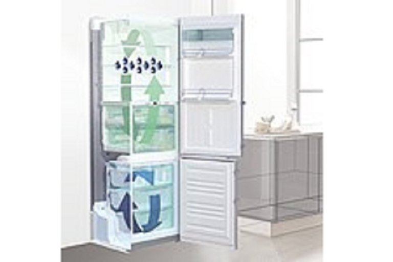Diagram of cool air circulating in the Liebherr French door fridge