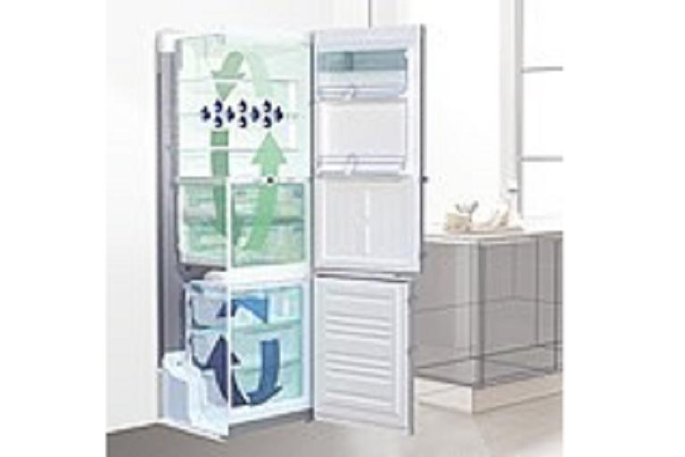 Diagram of cool air circulating in the Liebherr French door fridge