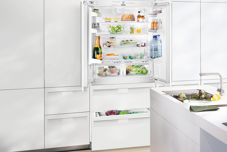 The Liebherr fully integrated fridge built in to a modern kitchen