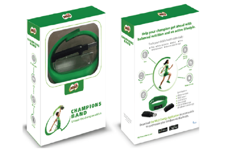 Front and rear shots of the Milo Champions Band in package
