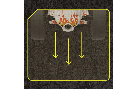 A diagram showing the front of the 