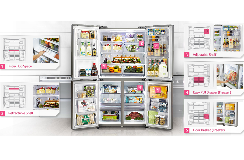A GF5D906SL fridge full of food and showing storage options.