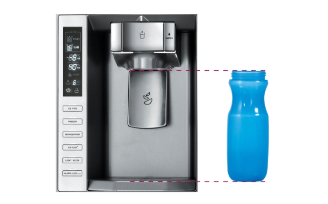 A tall drink bottle beside the GF5D906SL's ice and water dispenser.
