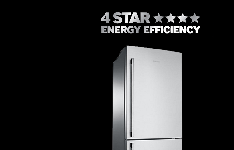 SRL458ELS fridge with 4-star energy efficency rating sign.
