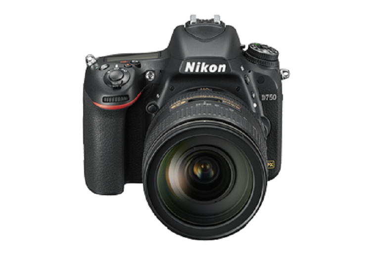 The Nikon D750 camera with lens attached