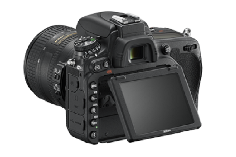 The Nikon DSLR camera with view screen tilted
