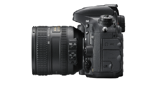 Side view of the Nikon DSLR camera