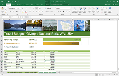 Office 2016 with an oepn Excel spreadsheet.