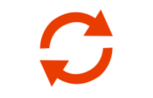An orange symbol of two arrows to positioned to make a circle.