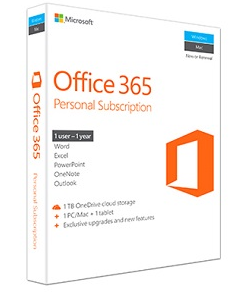 Office 365 Personal packaging.
