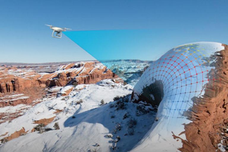 Phantom 4 drone scanning terrain
