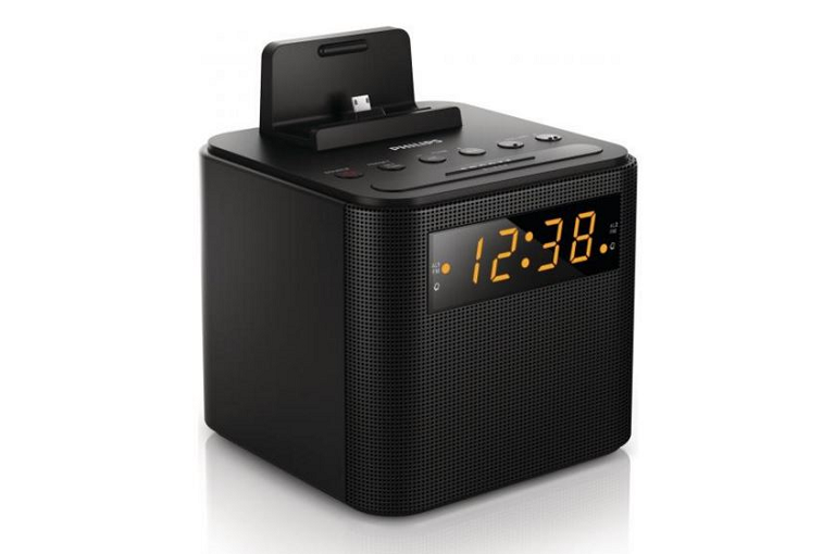 Angled shot of the Philips digital clock radio