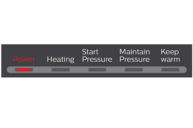 Close shot of the Philips Cooker's timer, showing the phases of cooking