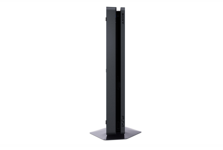 Side view of the PS4 console standing on its side