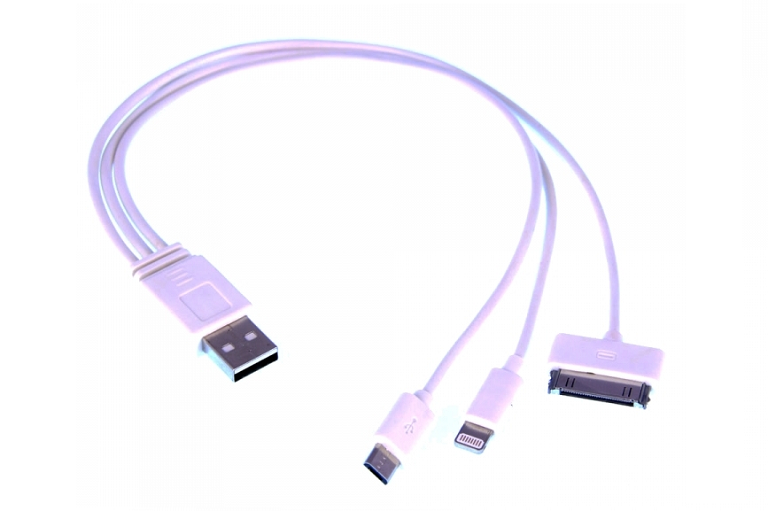 The included multi-adapter USB charging cable