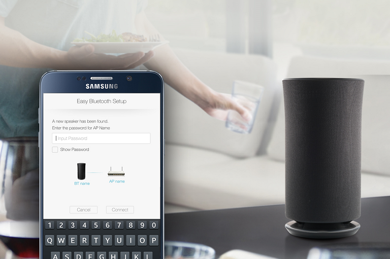 Stream music wirelessly from your smart phone to your Samsung Multiroom Speaker