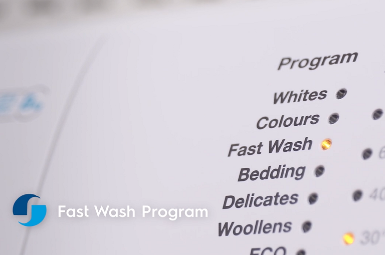 close up of the washing machine's control panel with fast wash option