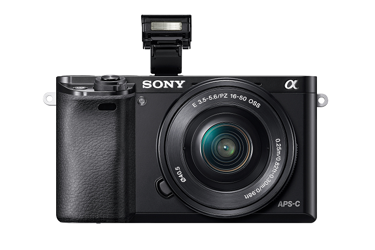Front view of the Sony digital camera