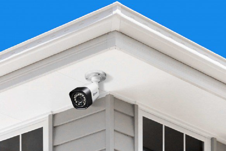 The Swann security camera mounted on a roof awning