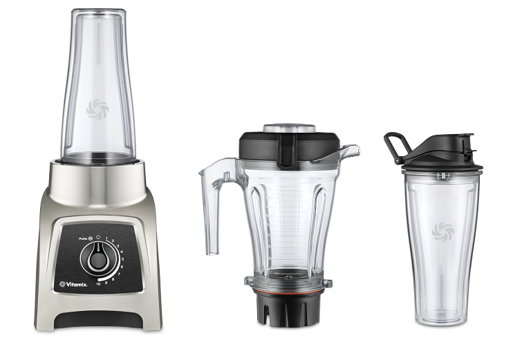 The Vitamix S30 blender with blending jar and travel container.