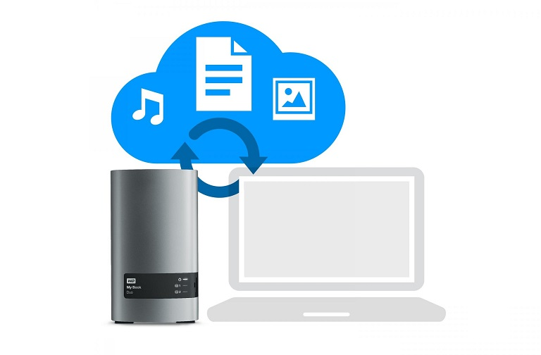 The My Book Duo 6TB hard drive backs up to the Cloud