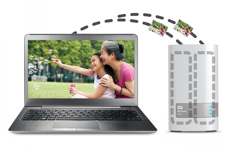 A diagram showing a laptop backing up files to the My Cloud Mirror's twin hard drives