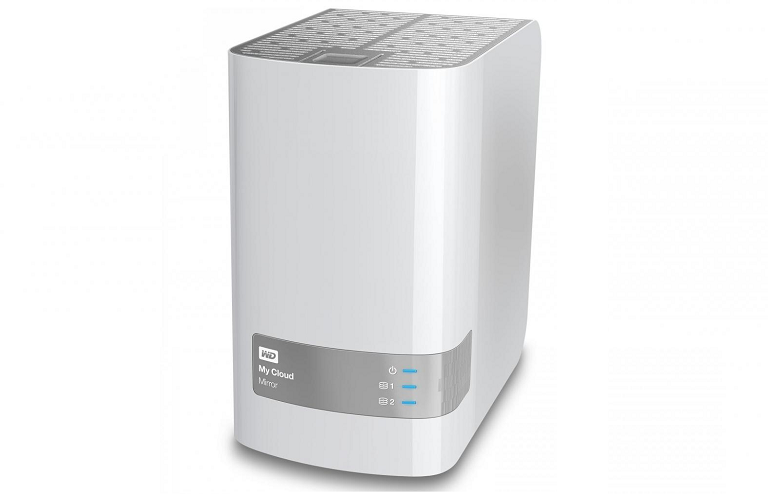 An angled view of the WD NAS device