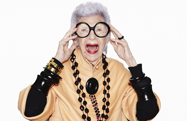 A close up of Iris Apfel wearing a 