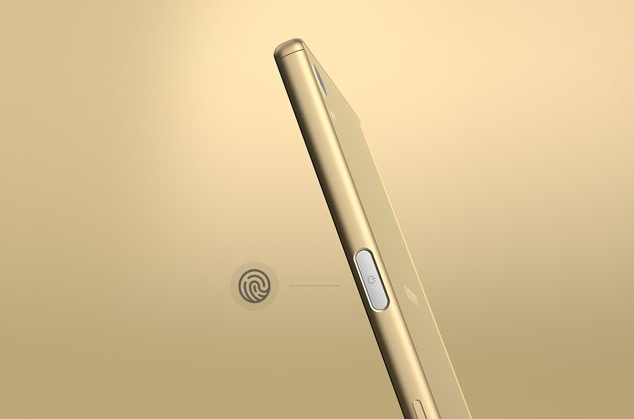A side-on image of a gold Xperia Z5.