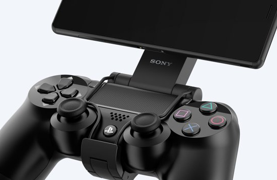 A PS4 controller and a Sony device.