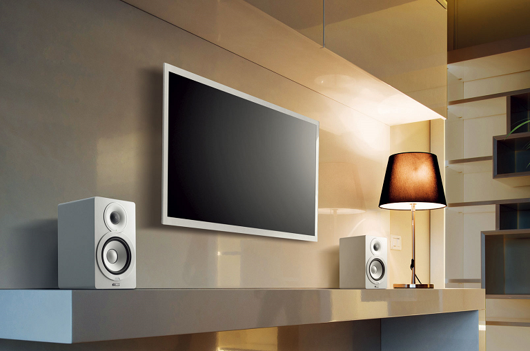 The Yamaha MusicCast speakers beside a large TV