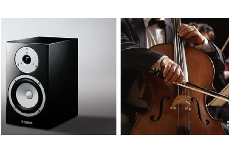 The Yamaha MusicCast speaker beside a close up of a violinist